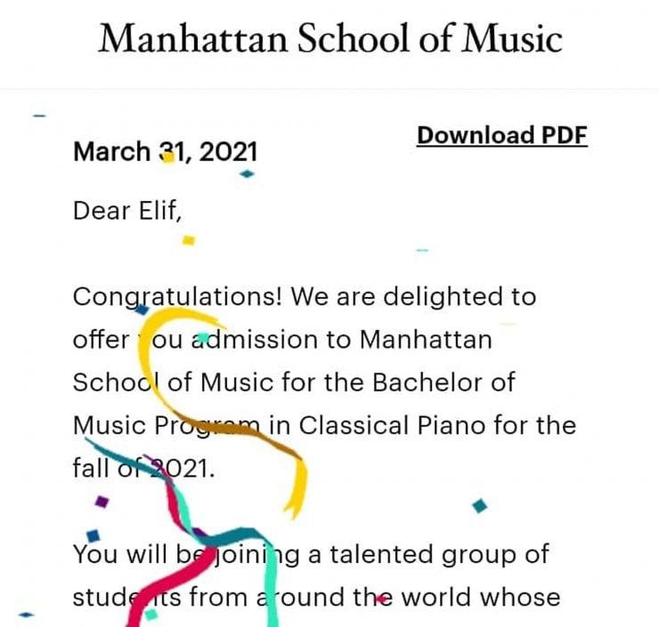 Dahi Piyanist Elif Işıl Dünyanın En İyi Müzik Okullarından Birine Seçildi